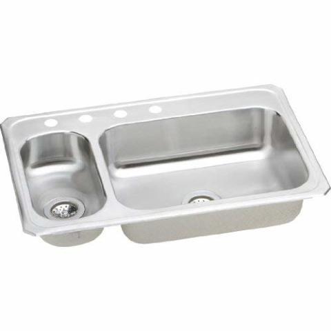 Elkay Gourmet Double Basin Drop-In Stainless Steel Kitchen Sink, 22 X 33-Inch