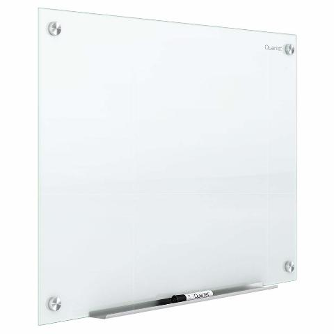 Quartet Glass Magnetic Dry Erase White Board, 3' X 2', Infinity, White Surface