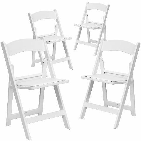 4 Pk. Hercules White Resin Folding Chair With White Vinyl Padded Seat