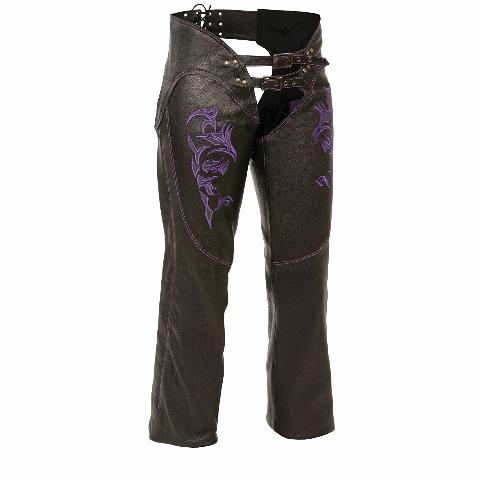 Milwaukee Women's Leather Chaps, Large, Black/Purple