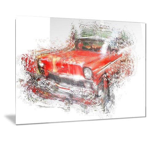 Designart Orange Classic Car Metal Wall Art - 40x30
