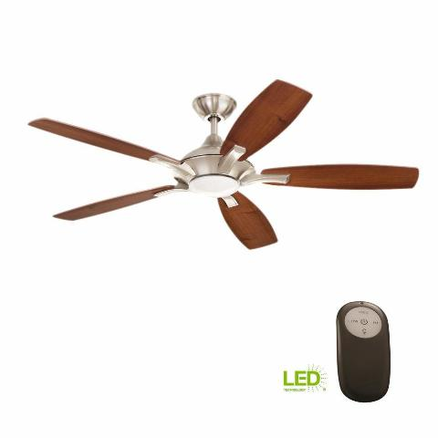 Home Decorators Petersford 52 In. Led Indoor Brushed Nickel Ceiling Fan