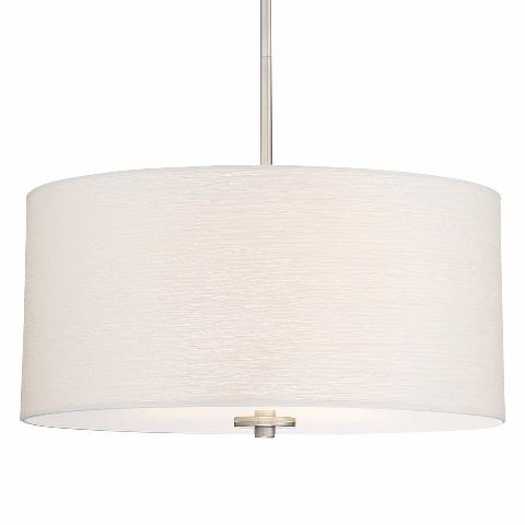 """Pearl 18"""" 3-Light Drum Chandelier   Glass Diffuser, Brushed Nickel Finish"""