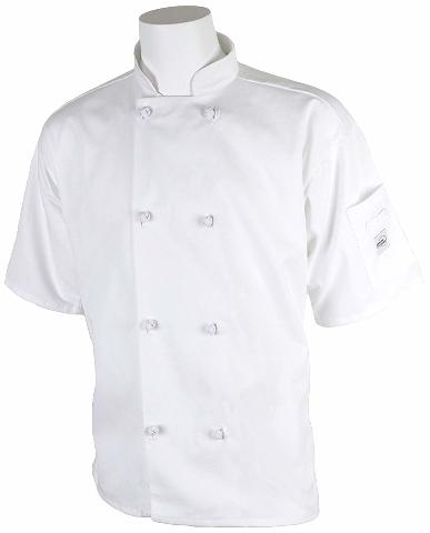 Millennia Unisex Short Sleeve Cook Jacket Cloth Knot Buttons White - 4X