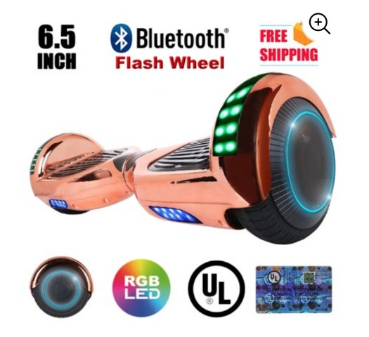 XtremepowerUS Scooter Hoverboard W/ Bluetooth Speaker LED Light (Rose Gold)