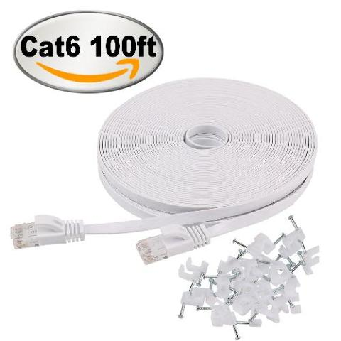 Cat6 Ethernet Cable 100 Ft Flat White with Clips,