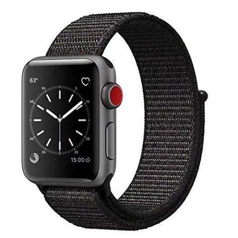 Smart Watch Band Black Sport Loop, Uitee Newest Woven Nylon Band For Apple Watch