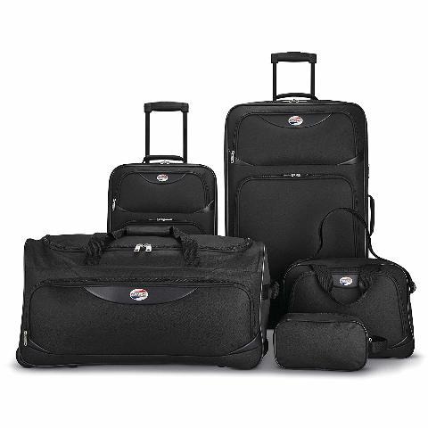American Tourister 5-Piece Softside Luggage Set, Black