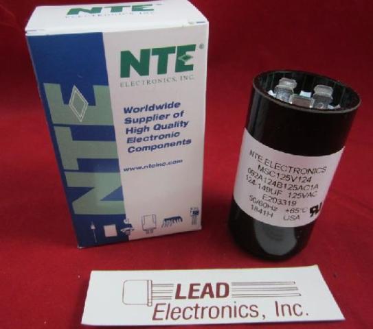 NTE part # MSC125V124 MOTOR START CAPACITOR, 124-149 MFD uF 110-125V AC