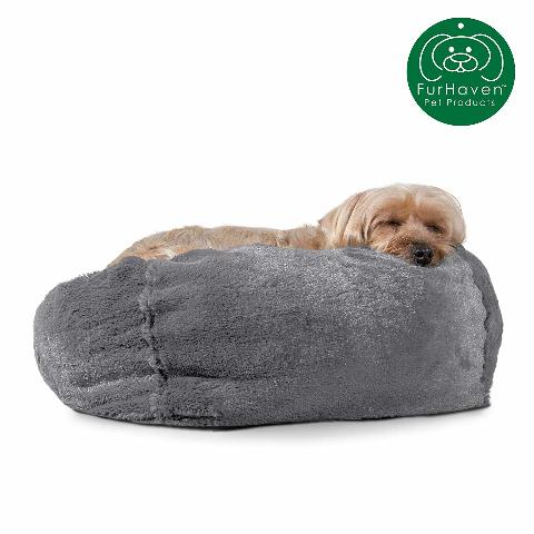Furhaven Pet Dog Bed | Round Plush Faux Fur - Gray Mist, Small