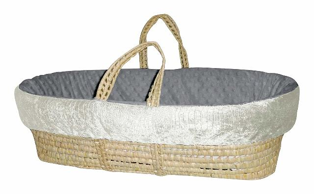 Baby Doll Bedding Croco Minky Moses Basket, Ivory/Grey