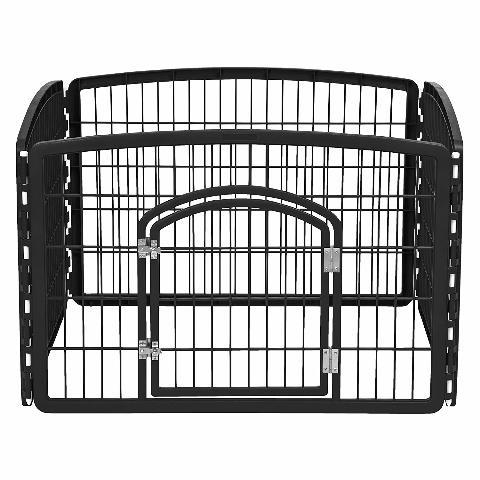 IRIS R-CI-604 24'' Exercise 4 Panel Pet Playpen with Door, Black