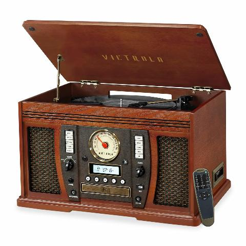 Innovative Technology  Victrola Aviator 7-In-1 Wooden Music Center Bluetooth