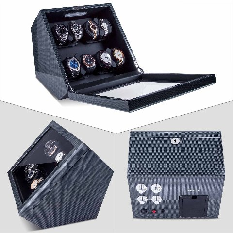 Watch Winder, Piano Finish Carbon Fiber Exterior And Soft Flexible Watch Pillows
