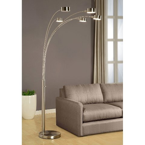 Artiva Usa Micah - 5 Arc Brushed Steel Floor Lamp W/ Dimmer Switch, 360 Degree
