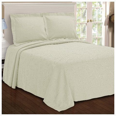 Superior Paisley 100% Premium Cotton Bedspread With Matching Shams, Queen, Ivory