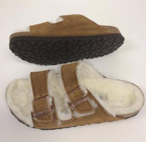 5-5.5 Women Birkenstock Women's Arizona Shearling Slide Sandal, Mink, 36 M Eu,