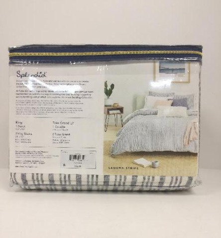 Splendid Home Laguna Stripe Duvet Set King Navy/Ivory