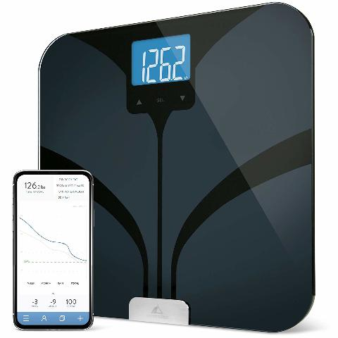 Weight Gurus Bluetooth Smart Connected Body Fat Scale With Large Backlit LCD