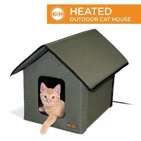 K&H Outdoor Heated Kitty House Cat Shelter Olive Green 18 X 22 X 17 Inches