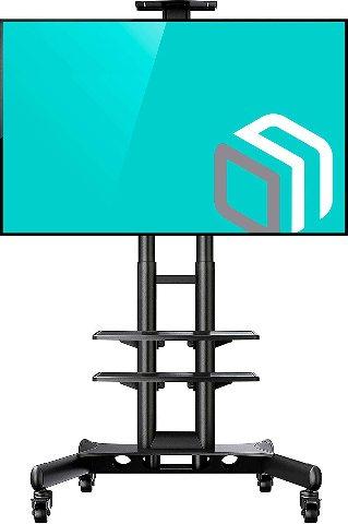 Onkron Mobile TV Stand Cart With Wheels & 2 AV Shelves For 32 - 65 Inch Screens