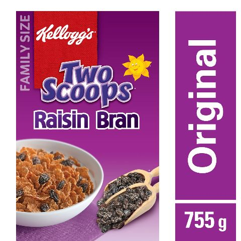 Kellogg's, Two Scoops, Raisin Bran Cereal, 755g