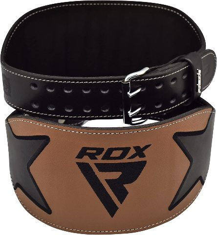 Rdx Weight Lifting Belt Double Prong padded Cowhide Leather Belt