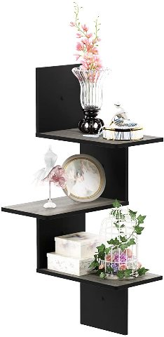 Furinno Rossi Wall Mounted Shelves, 3-Tier Rectangle, French Oak Grey/Black