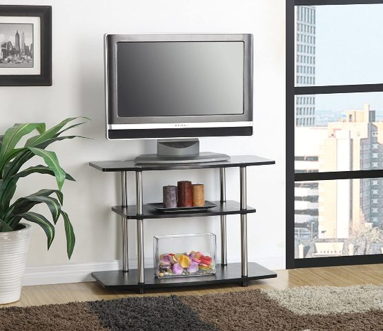 3-Tier TV Stand For Flat Panel Television Up To 32-Inch Or 80-Pound, Black