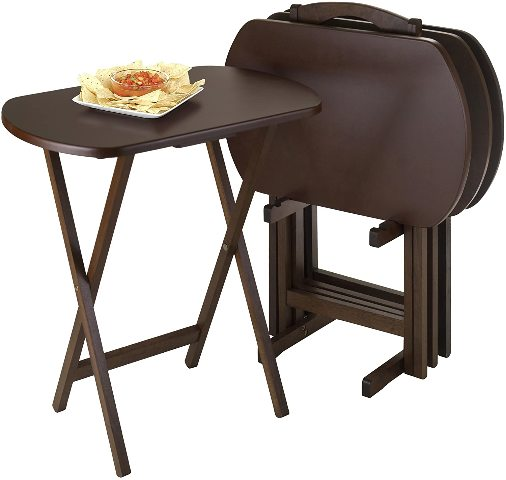 Corbett 4 Piece Oversize Oblong Snack Table Set - Antique Walnut - Winsome