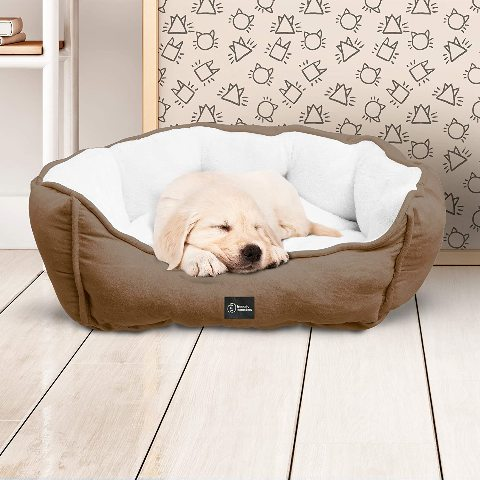 Friendly Monsters Round Pet Bed With Micro Suede Design & Plush Fill Brown