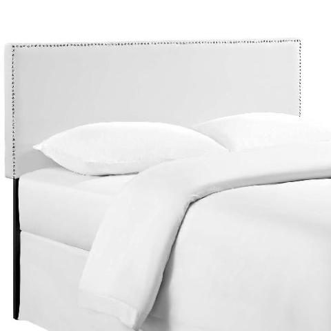 Faux Leather Upholstered Queen Headboard In White (READ)