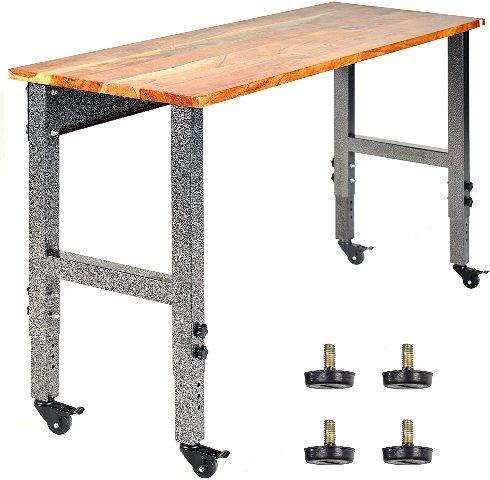 Fedmax Work Bench – Acacia Wood Garage Workbench w Casters
