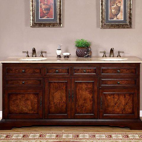 """Silkroad Exclusive Double Sink Vanity 72"""". AS IS. CABINET ONLY BROKEN TOP-PHOTOS"""