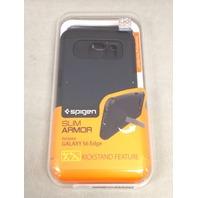Spigen Slim Armor Galaxy S6 Edge Case w/Kickstand and Air Cushion, Metal Slate