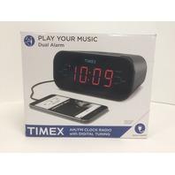 Timex Dual Alarm Clock Radio, 1.2-Inch Red Display, Line-In Jack (Gunmetal)
