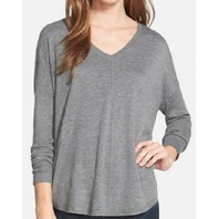 Women's Trouve 'Everyday' V-Neck Sweater, Size Large - Grey