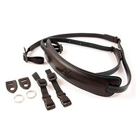 4V Design Lusso Tuscan Leather Medium Neck Camera Strap - Black & Cyan