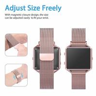 Wearlizer Fitbit Blaze Band Metal Frame Milanese Loop Stainless Steel Pink Gold