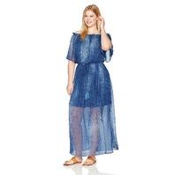 London Times Women's Plus Size Shoulder Chiffon Maxi Dress, Denim, 14W