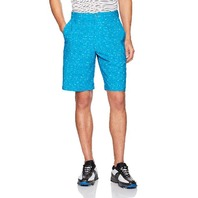 PGA TOUR Men's Active Waistband Grid Space-Dye Printed Short, Hawaiian Surf, 32