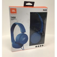 JBL T450 On Ear Headphones With Mic & Remote Control - Blue