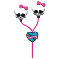Sakar Monster High Skull Earbuds, Pink (11348)