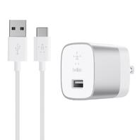 Belkin BOOSTUP Quick Charge 3.0 Home Charger with USB-A to USB-C Cable - Silver