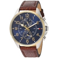 Tommy Hilfiger Men's Quartz Stainless Steel and Leather Automatic Watch, Brown