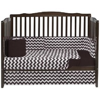 Baby Doll Bedding Chevron 4 Piece Crib Bedding Set, Brown