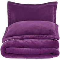 AmazonBasics Micromink Sherpa Comforter Set -  King, Plum