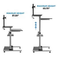 Mount-It! Mobile Stand Up Desk / Height Adjustable Computer Work Station
