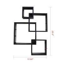 Shelving Solution Intersecting Decorative Espresso Color Wall Shelf Set Of 4