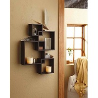 Shelving Solution Intersecting Decorative Espresso Color Wall Shelf Set Of 4